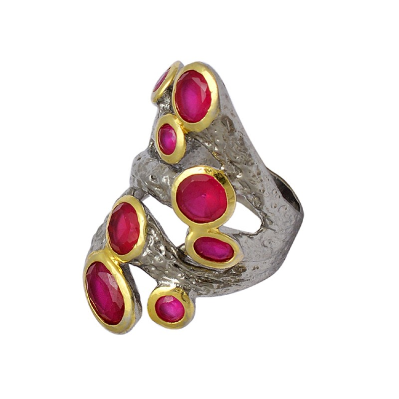 Oval Round Shape Ruby Gemstone 925 Silver Gold Plated & Black Rhodium Ring Jewelry