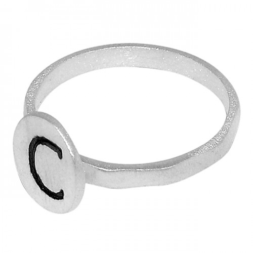 Handmade Plain Designer With Alphabet 925 Sterling Silver Ring Jewelry