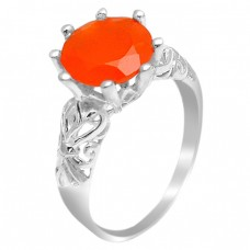 Round Shape Carnelian Gemstone 925 Sterling Silver Prong Setting Ring Jewelry