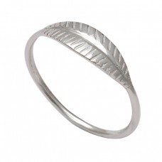 Plain Handmade Leaf Designer 925 Sterling Silver Ring Jewelry