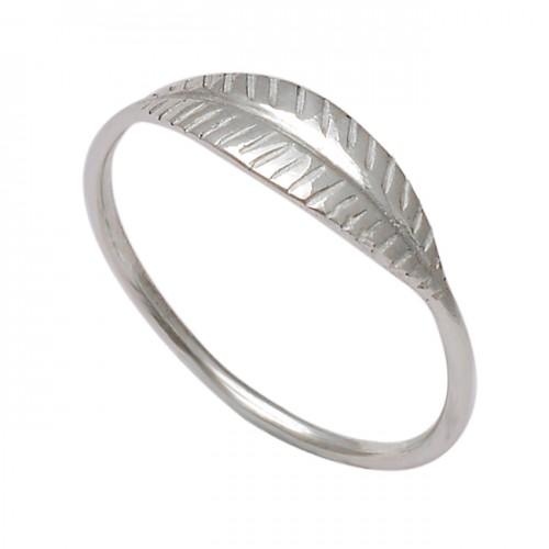 Plain Handmade Leaf Designer 925 Sterling Silver Ring Jewelry