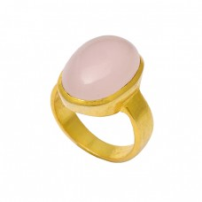 925 Sterling Silver Cabochon Oval Rose Quartz Gemstone Gold Plated Ring Jewelry