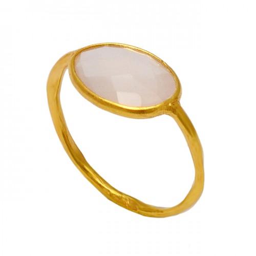 Oval Shape Rose Quartz Gemstone 925 Sterling Silver Gold Plated Designer Ring
