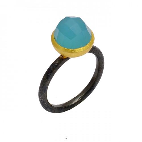 Aqua Chalcedony Gemstone 925 Sterling Silver Gold Plated Designer Ring