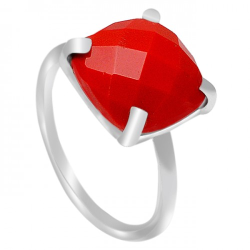 Red Onyx Cushion Gemstone 925 Sterling Silver Prong Setting Ring Jewelry