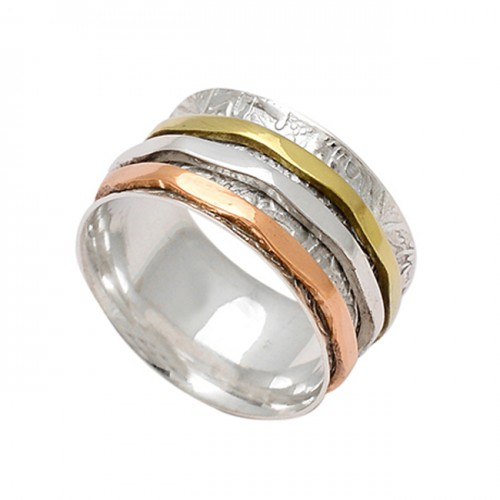 Stylish Designer Plain 925 Sterling Silver Gold Plated Spinner Rings Jewelry