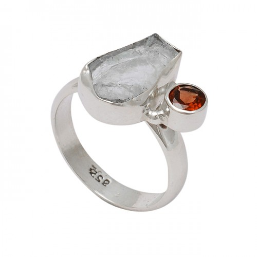 Green Amethyst Gernet Gemstone 925 Sterling Silver Handmade Designer Ring
