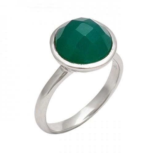 925 Sterling Silver Green Onyx Round Shape Gemstone Handmade Designer Ring