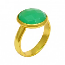 Round Shape Chrysoprase Gemstone 925 Sterling Silver Gold Plated Ring Jewelry