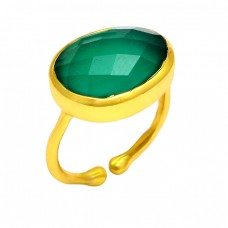 Green Onyx Oval Shape Gemstone 925 Sterling Silver Gold Plated Designer Ring