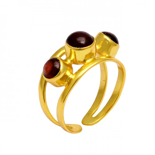 Round Shape Garnet Gemstone 925 Sterling Silver Gold Plated Designer Ring