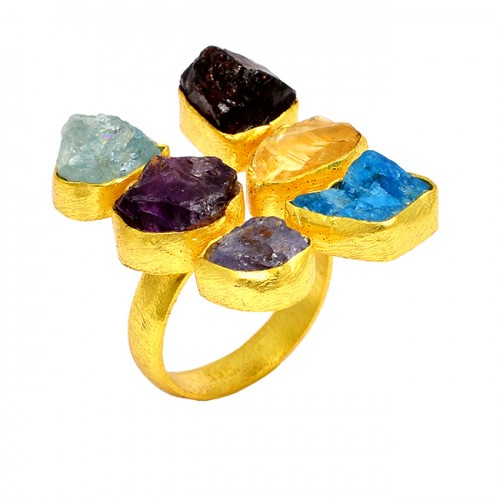 Multi Color Rough Gemstone Raw Material 925 Sterling Silver Handmade Gold Plated Ring