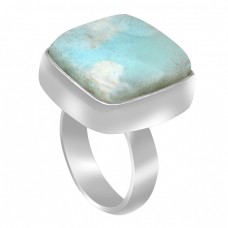 Blue Larimar Cushion Cabochon Gemstone 925 Sterling Silver Handmade Ring Jewelry
