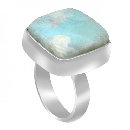 Blue Larimar Cushion Cabochon Gemstone 925 Sterling Silver Handmade Ring Jewelry