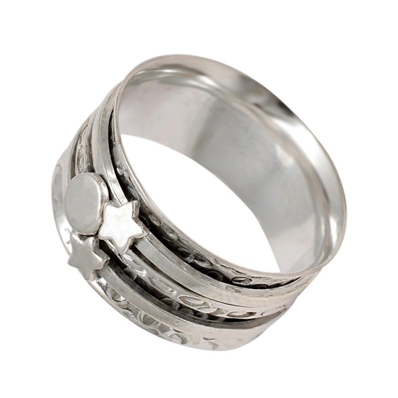 925 Sterling Silver Plain Silver Star Shape Designer Spinner Ring Jewelry