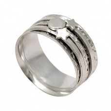 925 Sterling Silver Plain Silver Star Shape Designer Spinner Ring Jewelry