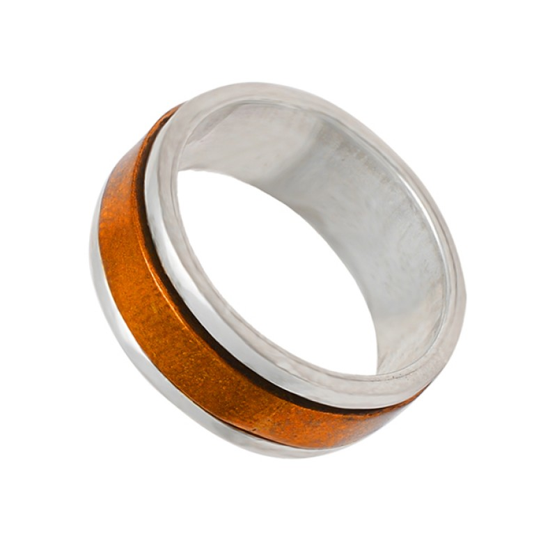 Designer 925 Sterling Silver Plain Silver Rose Gold Plated Spinner Ring Jewelry