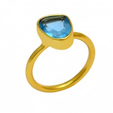 Faceted Triangle Shape Blue Topaz Gemstone 925 Silver Gold Plated Ring