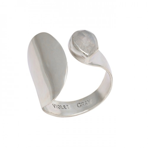 Pear Shape Rainbow Moonstone 925 Sterling Silver Band Designer Ring Jewelry