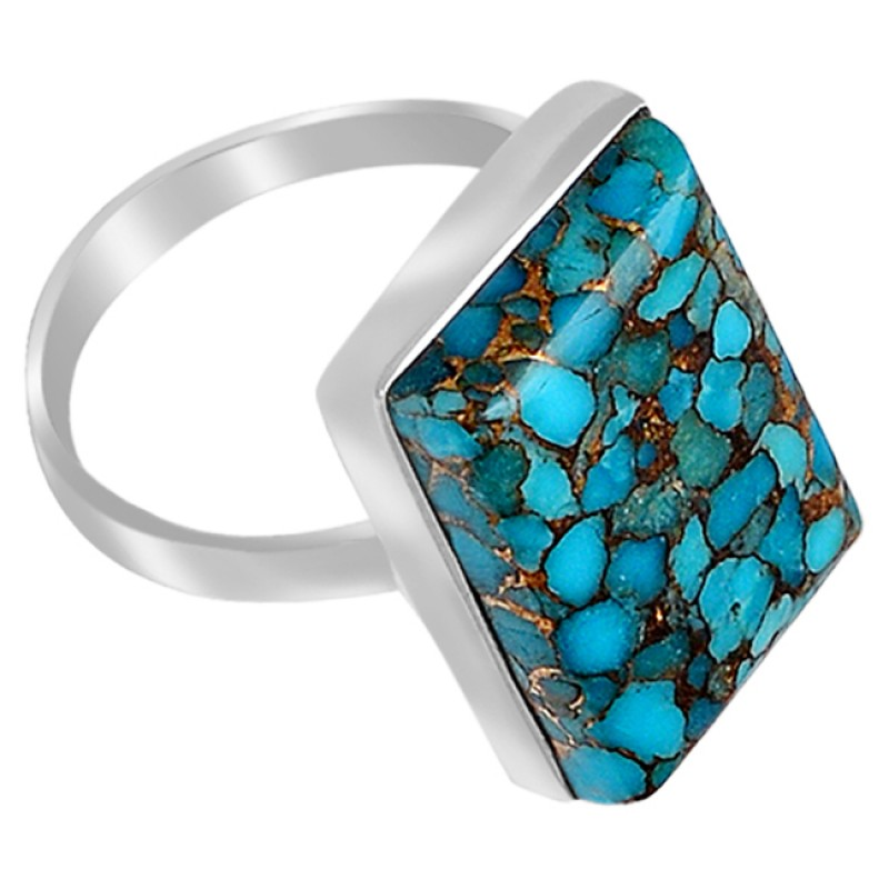 Blue Copper Turquoise Rectangle Cabochon Gemstone 925 Sterling Silver Handmade Ring