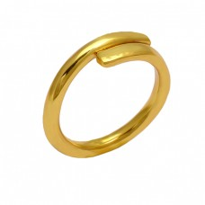 925 Sterling Silver Plain Handmade Designer Gold Plated Ring Jewelry