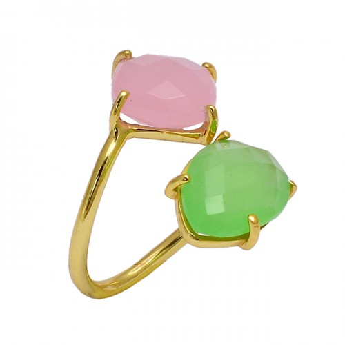 Rose Prehnite Color Chalcedony Gemstone 925 Sterling Silver Gold Plated Ring