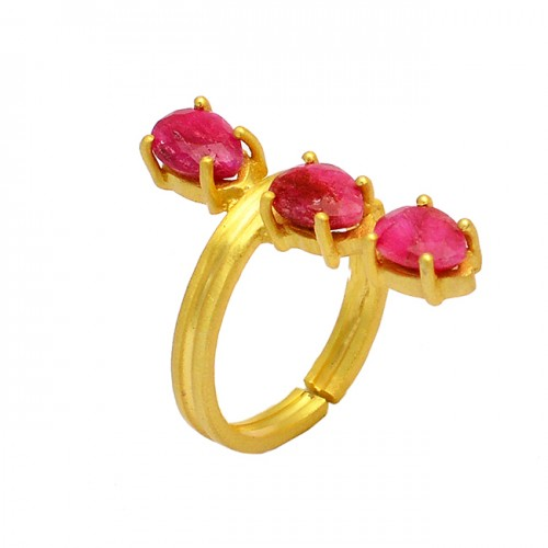 Oval Shape Ruby Gemstone 925 Sterling Silver Gold Plated Prong Setting Ring
