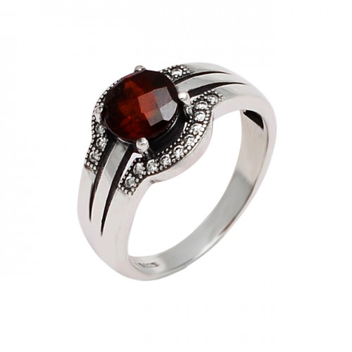 Garnet Cubic Zirconia Gemstone 925 Sterling Silver Prong Setting Ring Jewelry