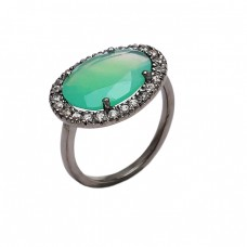 Pave Cz Chalcedony Gemstone 925 Sterling Silver Black Rhodium Ring Jewelry