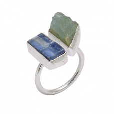 Aquamarine Blue Kyanite Rough Gemstone 925 Sterling Silver Handmade Ring