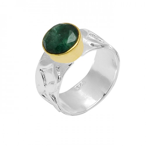 Faceted Round Shape Emerald Gemstone 925 Sterling Silver Gold Plated Ring