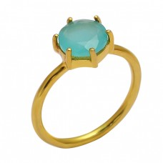 Faceted Round Shape Aqua Chalcedony Gemstone 925 Silver Gold Plated Ring