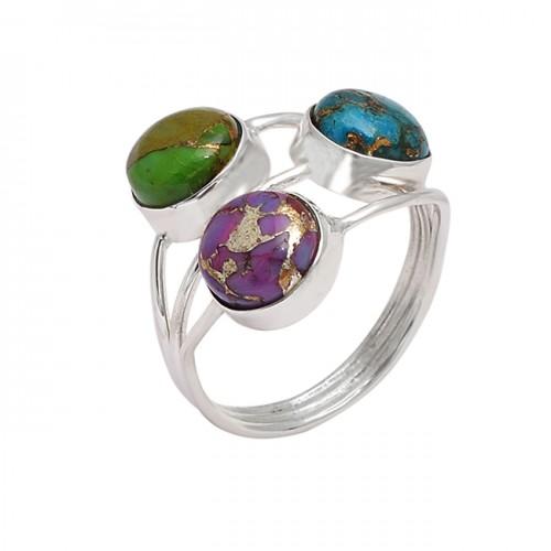 Cabochon Round Shape Turquoise Gemstone 925 Sterling Silver Handmade Designer Ring