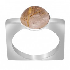 Cabochon Round Golden Rutile Quartz Gemstone 925 Sterling Silver Ring Jewelry