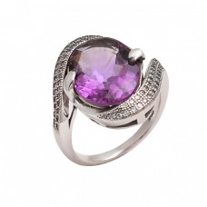 Purple Amethyst Oval Shape Gemstone 925 Sterling Silver Band Designer Rings Jewelry