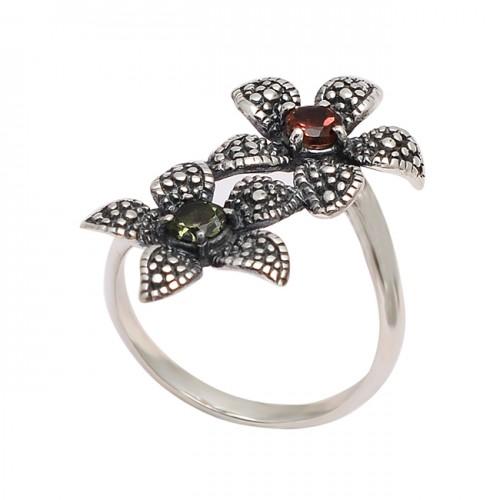 Faceted Round Green Amethyst Garnet Gemstone 925 Silver Black Oxidized Ring Jewelry