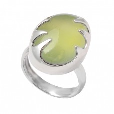 Cabochon Prehnite Chalcedony Oval Shape Gemstone 925 Sterling Silver Handmade Ring Jewelry