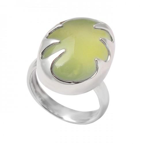 Cabochon Prehnite Chalcedony Oval Shape Gemstone 925 Sterling Silver Handmade Ring Jewelry