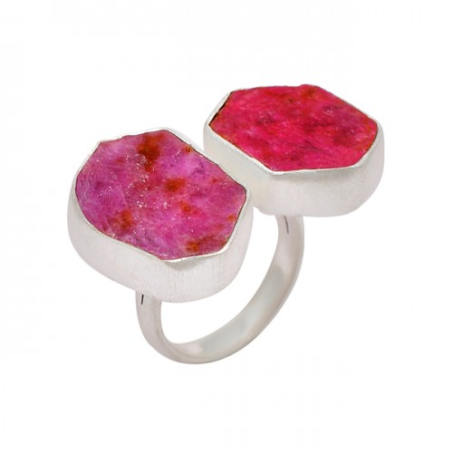 Ruby Raw Material Rough Gemstone 925 Sterling Silver Handmade Ring Jewelry