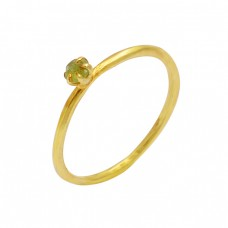 Prehnite Chalcedony Round Shape Gemstone 925 Silver Gold Plated Ring Jewelry