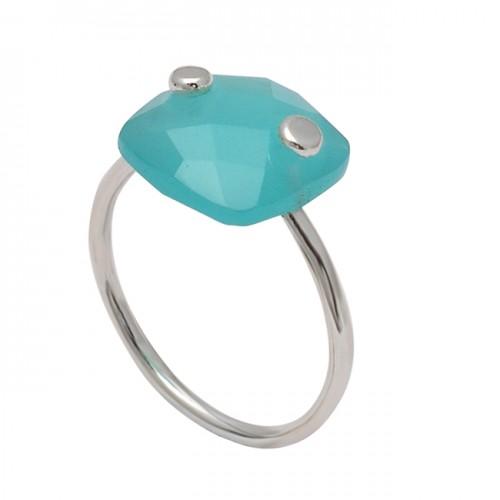 Cushion Shape Aqua Chalcedony 925 Sterling Silver Handmade Designer Ring