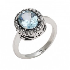 Faceted Oval Shape Blue Topaz Gemstone 925 Sterling Silver Cocktail Designer Rings