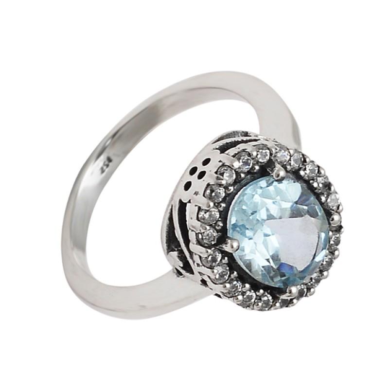 Faceted Oval Shape Blue Topaz Gemstone 925 Sterling Silver Cocktail Designer Rings