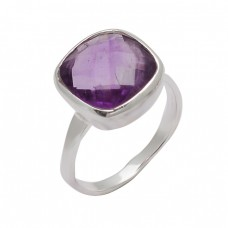 925 Sterling Silver Cushion Shape Amethyst Gemstone Handmade Designer Ring