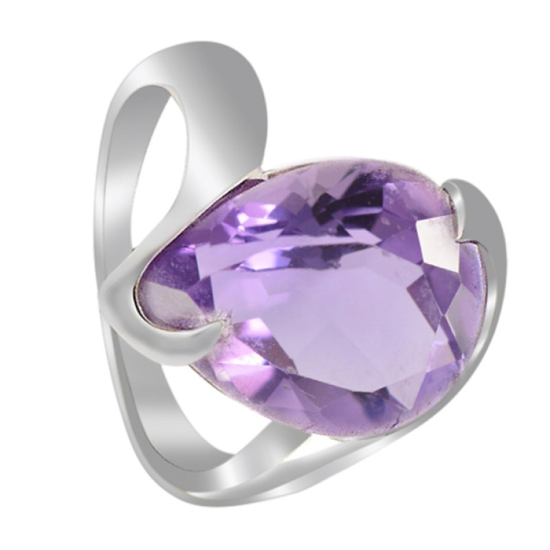Purple Amethyst Faceted Pear Gemstone 925 Sterling Silver Jewelry Ring
