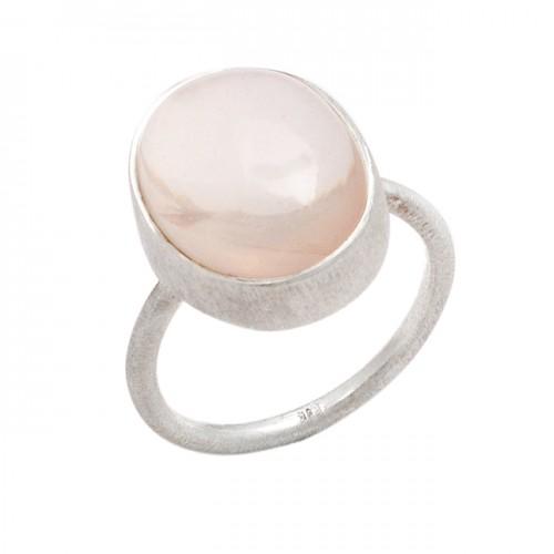 Oval Shape Rose Quartz Gemstone 925 Sterling Silver Ring Jewelry