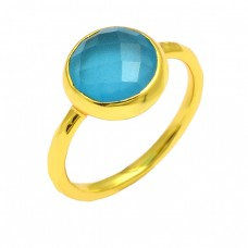 Round Shape Blue Chalcedony Gemstone 925 Sterling Silver Gold Plated Ring