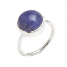 Round Cabochon Lapis Lazuli Gemstone 925 Sterling Silver Handmade Ring