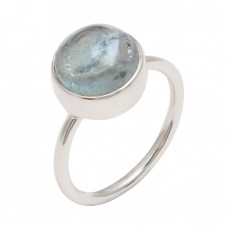 Designer Round Shape Blue Topaz Gemstone 925 Sterling Silver Ring Jewelry