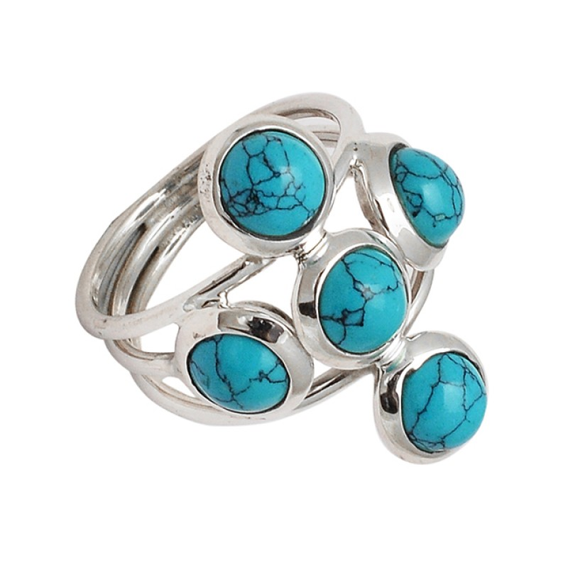 Cabochon Round Shape Matrix Turquoise Gemstone 925 Sterling Silver Rings Jewelry